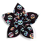 The Worthy Dog Skeleton Sugar Skulls and Flowers Day of The Dead Colorful Pattern Designer Collar Flower Fashion Accessories for Pets Fit Small Medium and Large Cat Dogs - Black Color