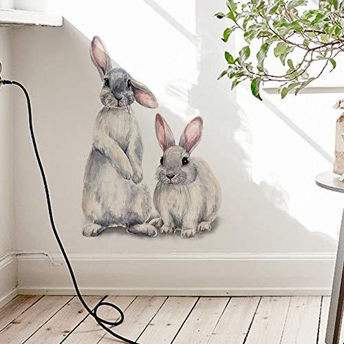 Zwei niedliche Kaninchen Wandaufkleber Abnehmbare Wandaufkleber für Kinderzimmer Heimdekoration (FX-F01)