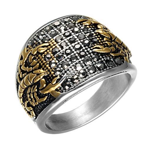 Acier Inoxydable 316L Bague Homme Black Diamond Scorpion Anneau Rétro Never Fade Dominatrice Anneau,d'or,8