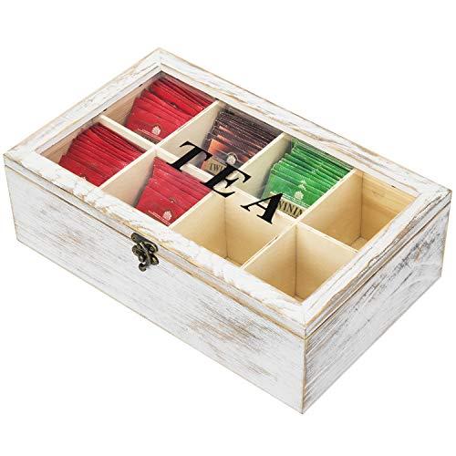 MyGift Aufbewahrungsbox für Teebeutel, 8 Fächer, weiß gekalktes Holz, mit transparentem Acryl-Deckel und Riegel.