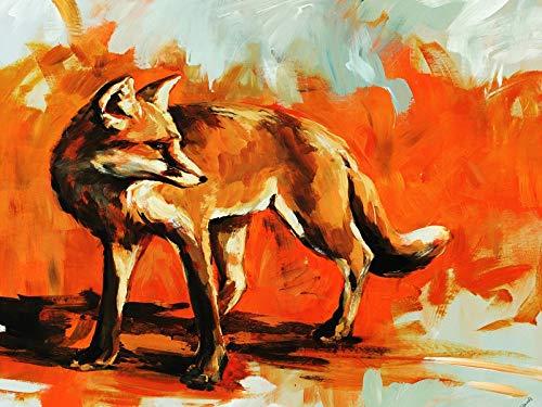 ZXJYH Tissu Décoration Maison Peinture Murale Modèle Fox Art Corridor Porche Hand-Painted Pur Les Peintures À l'huile,50 X 75 Cm