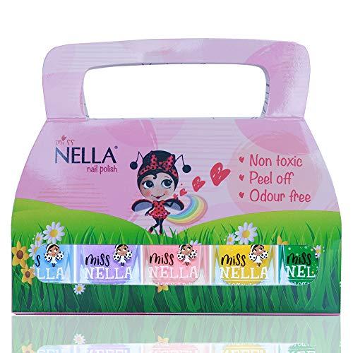 Miss Nella SPRING IT ON Nagellack 5er Set Blau, Lila, Rosa, Gelb & Grün abziehbarer Nagellack speziell für Kinder, Peel-Off-Formel, ungiftig, wasserbasiert und geruchsneutral