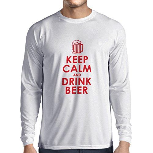 lepni.me Heren T-shirt houden kalm en drinken bier - het krijgen van dronken humoristische citaten, grappige alcohol geschenken
