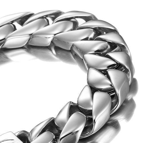 Urban-Jewelry Argento 21cm del Braccialetto degli Uomini potenti dell'Acciaio Inossidabile (con Il Contenitore di Regalo bollato)