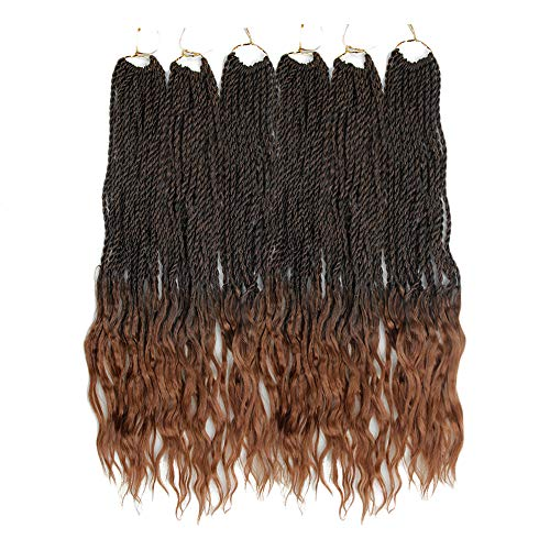 Goddess Senegalese Twist Crochet Hair Curly Ends Deep Wave Synthetic Braiding Hair Kanekalon Ombre Hair Extensions (18inch,#1B/30)