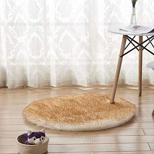 Redondo suave de piel de oveja de piel de oveja alfombras para dormitorio sala de estar salpica sedosa alfombra de felpa blanca alfombra de piel sintética. ( Color : White yellow top , Size : 130cm )