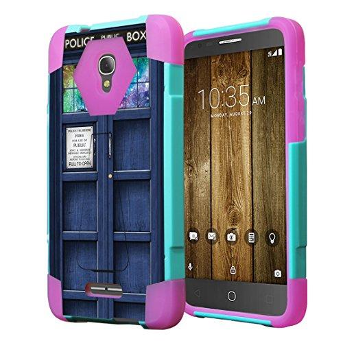 Alcatel Fierce 4 Case, Alcatel Allura Case, Capsule-Case Hybrid Fusion Dual Layer Combat Kickstand Case (Teal Green & Pink) for Alcatel Fierce 4   Allura Pop 4 Plus - (Blue Phone Booth)