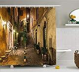 Nyngei Italienischer Duschvorhang Old Courtyard Rom Italien Cafe Stühle Stadt Historische Häuser in Street Cloth Stoff Badezimmer Dekor Set mit180CM Orange Braun