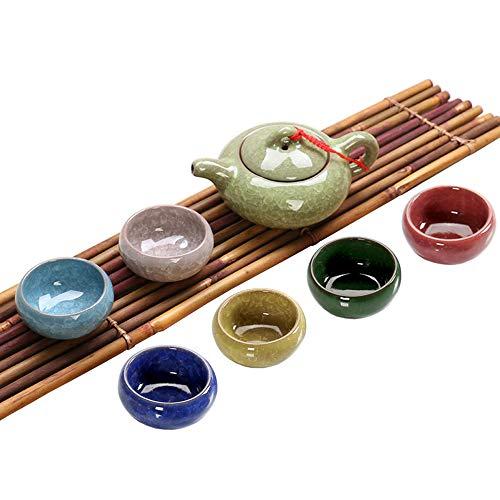 YzoTek Buntes Eisrissglasur Porzellanteeset - Chinesisches Kung Fu Teeservice Utensil mit Mehrfarbigen 6 Teetassen(1.7 Unzen) und Teekanne(6.8 Unzen)