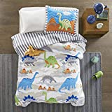 Mi Zone Kids Little Foot Twin Bedding Sets Boys Quilt Set - Grey, Blue, Orange , Dinosaur – 3 Piece Kids Quilt For Boys – Cotton Filling Ultra Soft Microfiber Quilt Sets Coverlet