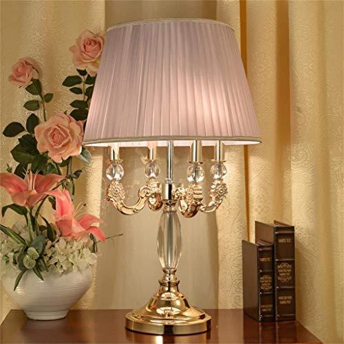 Mode-individualiteit Creatieve kristallen stoffen tafellamp, luxe bureaulamp in Europese stijl met stoffen kap voor woon- / woonkamer in de slaapkamer