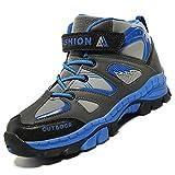 Unitysow Kinder Trekking- & Wanderschuhe Jungen Mid Wanderstiefel Mädchen Outdoor Trekking Schuhe rutschfeste Sneaker Gr.29-39,Blau Gr.36
