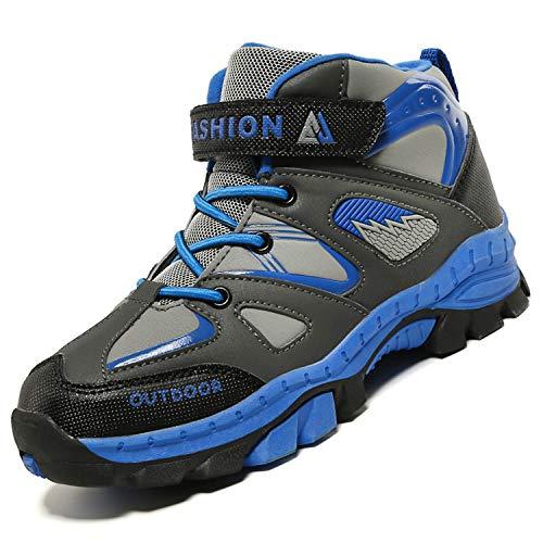 Unitysow Kinder Trekking- & Wanderschuhe Jungen Mid Wanderstiefel Mädchen Outdoor Trekking Schuhe rutschfeste Sneaker Gr.29-39,Blau Gr.37