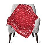 Red Paisley Bandana Baby Blanket for Boys Girls Soft Plush, Toddler Baby Newborn Blanket Shower Gifts 30x40 Inchs