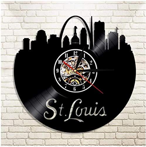 zgfeng Reloj de Pared Registro St. Louis EE. UU.Reloj de Pared de Vinilo decoración del hogar 3D diseño Hecho a Mano decoración del hogar única Regalo de cumpleaños de Navidad