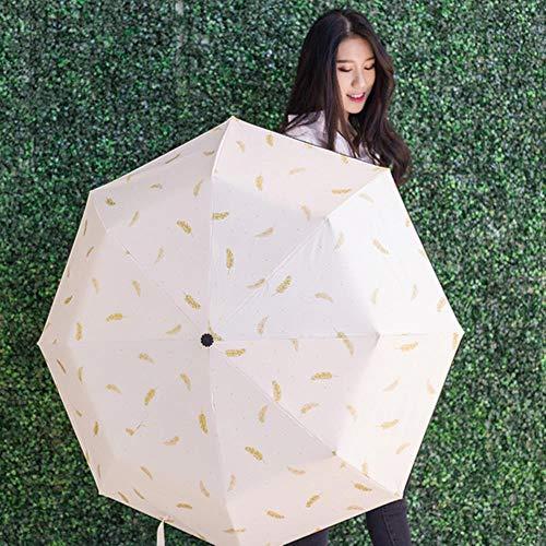 Van Gogh Pintura al óleo Paraguas Lluvia Mujeres Creative Arts Parasol Mujer Sol y Lluvia Paraguas Ligero Cubre el Sol Anti-UV, Plumas Blancas