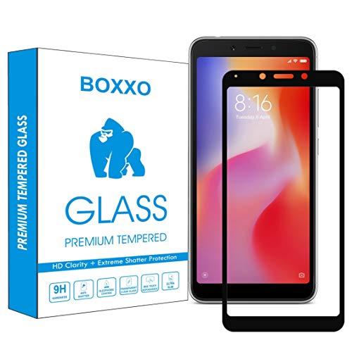 Boxxo Screen Protector for Mi Redmi 6A [Tempered Glass Guard with Edge to Edge Protection] [Gorilla] [Full Coverage] Easy Installation [Anti FingerPrint] - Black