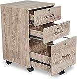SSLine Mobile Wood File Cabinet with 3 Drawers Home Office Rolling Filing Cabinet Under Desk Lockable Hanging File Drawer Chest Cart on Wheels for Letter File Folder -Oak