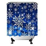Duschvorhang mit Schneeflocken, dunkelblau, weihnachtliches Badezimmervorhang Schneeflocken & leuchtendem Licht, Wintersaison, Urlaub, Heimdekoration, Stoff Haken, 183 x cm, marineblau silberfarben