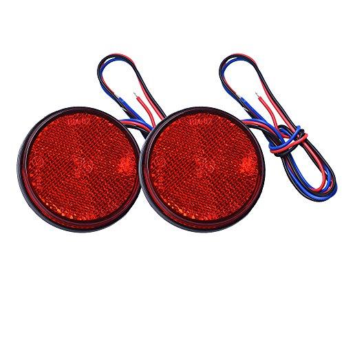 HEHEMM Feux Remorque LED, Feu Arriere Remorque 2PCS Feux LED Feu de Freinage Réflecteur Rond LED Feu de Gabarit LED 12V pour Camion de Moto Automobile (Rouge)