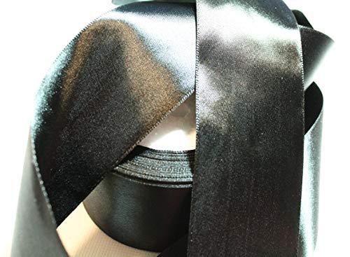 CaPiSo 22m Satinband 50mm Breite Schleifenband Geschenkband Dekoband Weihnachten Hochzeit (Schwarz, 22m)