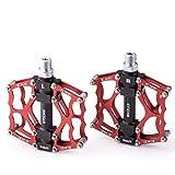 Hysenm - Pedales para bicicleta de 9/16 pulgadas, CNC aleación de aluminio, 3 rodamientos antideslizantes, sólidos para bicicleta de montaña BMX DH, plataforma roja