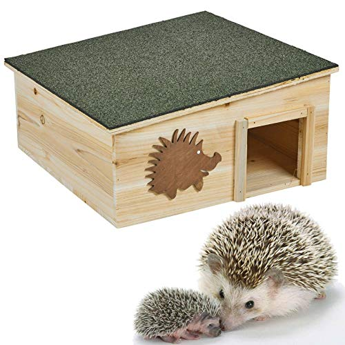 Unibos Wooden Hedgehog House Detachable Rainproof Bitumen Roof Hibernation Nesting Box
