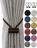 HoHnH Deep Coffee 4 Magnetic Curtain Tiebacks- Drapery Holdbacks, Tie Backs Holdback for Blackout Sheer Window Treatment, Upgrade 2020 (4, DEEP Coffee)