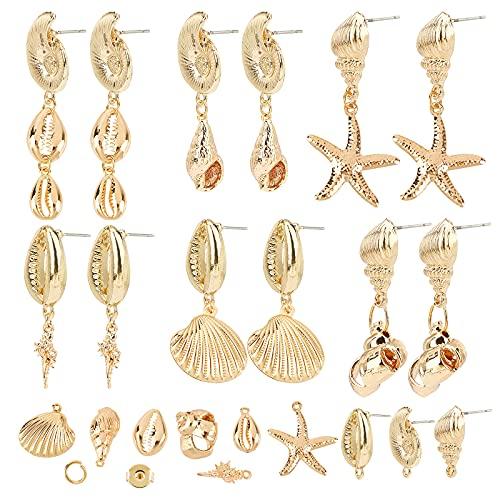 SUNNYCLUE DIY 6 par de Pendientes Chapados En Oro de 18 Quilates con Diseño de Océano con Forma de Estrella de Mar Encantos Anillos de Salto Y Tuercas Orejas para Mujeres Principiantes