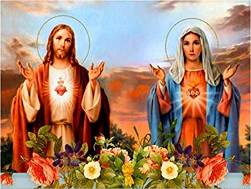 Virgin Mary Diamond Painting Set - MaiYiYi 5D Full Round Diamond Painting Jesus Diamond Painting Cross Stitch Kit Religion Crystal Diamond Painting Set for Adult Kids Home Wall Art Decor (40X30 CM)
