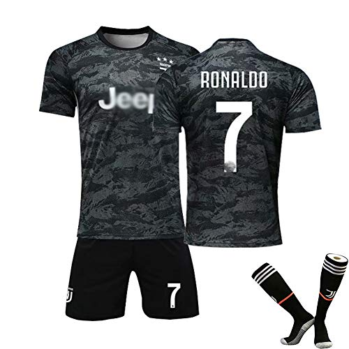 # 10 Dybala Fußball Uniform # 7 Ronaldo Trikot Set, Club Kurzarm Shorts Training Wettkampfanzug für Herren Kind Geschenk Training Kit T-Shirt Black(#7)-22