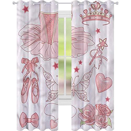 Cortinas para sala de estar, princesa, zapatos de disfraces, tiara, rosas W42 x L72, cortina de reducción de ruido