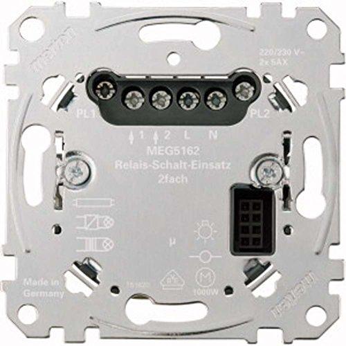 Merten MEG5162-0000 Relais-Schalt-Einsatz, 2fach, Metallisch