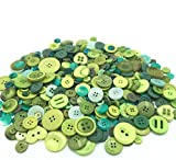 EMAAN 650 pieces of Various Sizes Resin Buttons 2 and 4 Holes Round Craft Buttons Sewing DIY Crafts Scrapbook Children's Handmade Button Painting Button Bouquet (Spring Green)