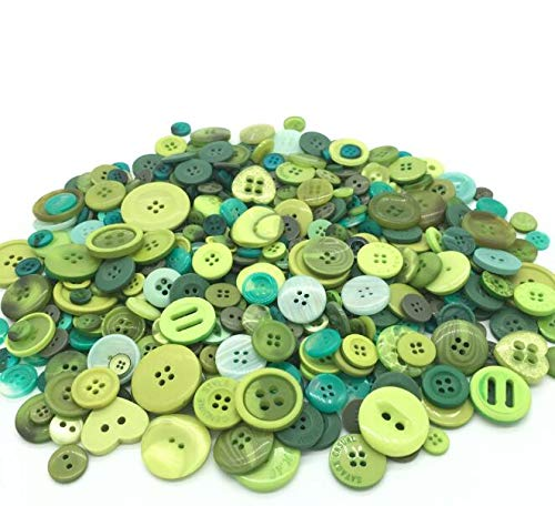 EMAAN 650 pieces of Various Sizes Resin Buttons 2 and 4 Holes Round Craft Buttons Sewing DIY Crafts Scrapbook Childrens Handmade Button Painting Button Bouquet (Spring Green)