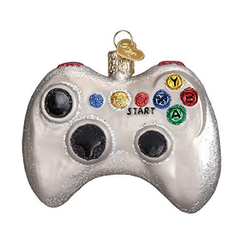 Old World Christmas Ornaments: Video Game Controller Glass Blown Ornaments for Christmas Tree (44094), Glitter Multi