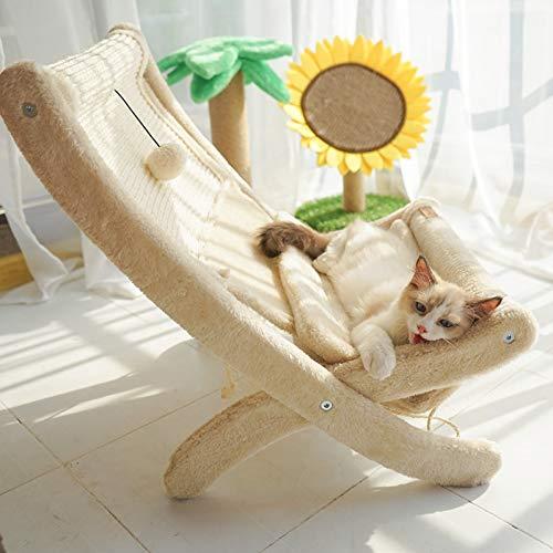 HHXXTTXS Nido de Gato Silla de Gato para Tomar el Sol Estera de Verano Gato sillón reclinable Cama de Gato Hamaca de Gato con sisal Tablero de rascado de Gato