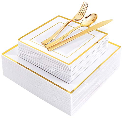 WDF 125pcs Gold Plastic Plates with Disposable Plastic Silverware- Gold Rim Square Plastic Dinnerware include 25 Dinner Plates,25 Salad Plates,25 Forks, 25 Knives, 25 Spoons