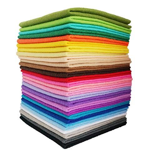 YXJD Bastelfilz Set Weich Vliesstoff Mehrfarbig Filzstoff zum Nähen 1.4mm Dicke Filzplatten für DIY Handwerk Projekte Patchwork Puppe Weihnachten Deko (28pc 30x30cm)