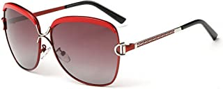 LUKEEXIN Women and Man Sunglasses Two-Tone Reflective Lens Classic Frame Unisex Protective Lens (Color : Red)