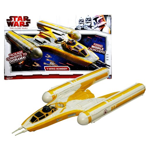 """Star Wars Year 2009 Animated Series""""The Clone Wars"""" Action Figure Vehicle Set : Y-WING BOMBER with Proton Torpedoes, Removab"""