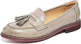 NDJqer Loafers Women Tassels Genuine Leather Sheepskin Pointed Toe Flats Slip On Shoes Handmade
