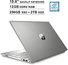 HP Pavilion 15.6 Inch Touchscreen Laptop - Intel Quad Core i7-8550U up to 4.0 GHz, Intel UHD 620, 12GB DDR4 RAM, 256GB SSD (Boot) + 2TB HDD, Backlit KB, HDMI, Bluetooth, WiFi, Windows 10, Silver