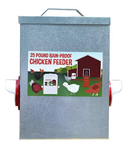 25LB Outdoor Rainproof Galvanized Chicken Feeder 20 Liter Capacity (Center)