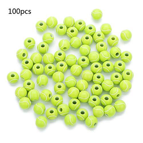 Wanfor Accessori per la creazione di gioielli, 100 palline da tennis rotonde da 12 mm per lo sport, perline fai da te