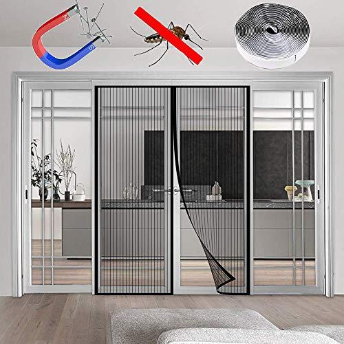 WISKEO Fliegengitter Tür Ohne Bohren Magnet Insektenschutz, Magnetvorhang HäNde Frei, Moskitonetz Magnetverschluss, Full Frame, Schwarz 200x220CM