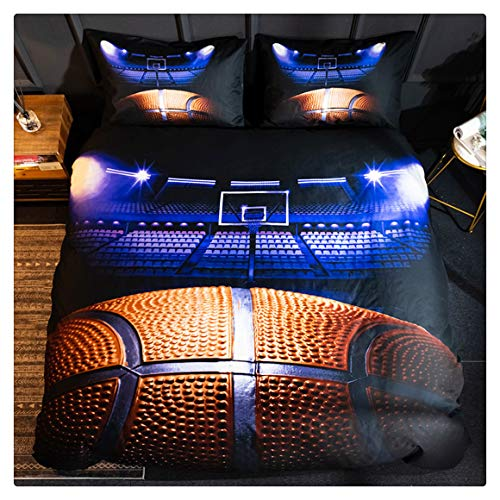Homebed 3D Sports Basketball Bedding Set for Teen Boys,Duvet Cover Sets with Pillowcases,King Size,3PCS,1 Duvet Cover+2 Pillow Shams