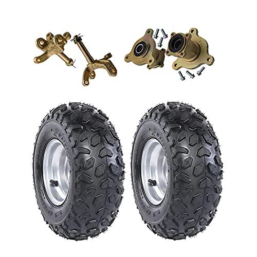 ZXTDR 2PCS Front 145/70-6 Tubeless Wheel Tires with 6'' Rims and Disc Brake Wheel Rim Hub with Steering Knuckle for ATV Go Kart UTV Quad Bike 4 Wheelers