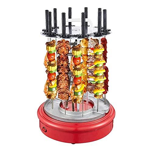 HFFSGS Parrilla de horno de tostadora ROTISSERIE - Parrilla KABOB de acero inoxidable de encimera, acero inoxidable con vajillas de horneado, pinchos de kebob Máquina de kebab giratoria automática pro