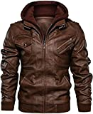 chouyatou Men's Vintage Removable Hooded Slim Motorcycle Faux Leather Bomber Jacket (X-Large, Brown)